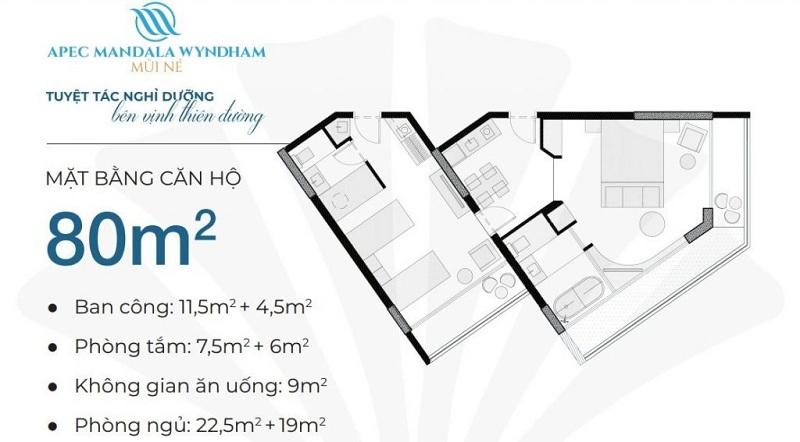 Thiết kế căn hộ 80m2 Apec Mandala Wyndham Mũi Né - Phan Thiết