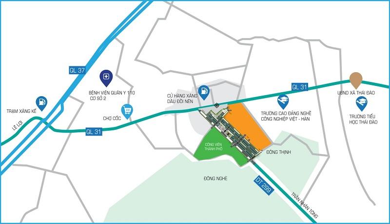 Vị trí dự án Khu đô thị Dĩnh Trì - Bắc Giang
