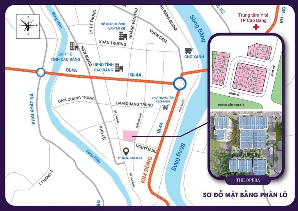 Vị trí tiểu khu Opera TNR Grand Palace Hợp Giang - trung tâm TP Cao Bằng