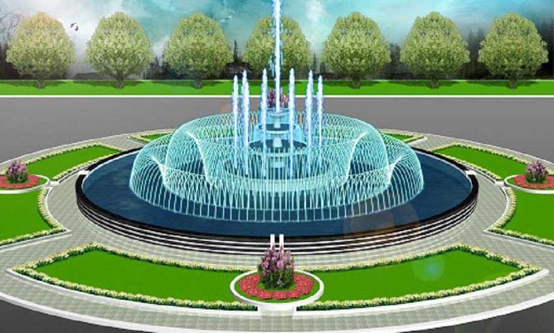 Đài phun nước dự án Khu Đô Thị Đình Trám Sen Hồ - Bắc Giang
