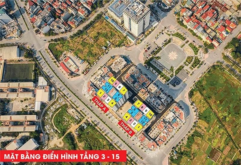 Flycam mặt bằng tầng 3-15 HC Golden City Bồ Đề - Long Biên
