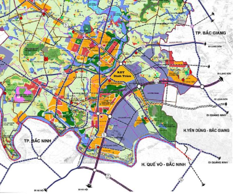 Kết nối khu vực dự án Khu Đô Thị Đình Trám Sen Hồ - Bắc Giang