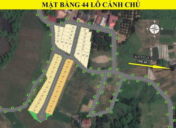 Mặt bằng phân lô khu dân cư 44 lô Cánh Chủ - Bình Yên - Hòa Lạc