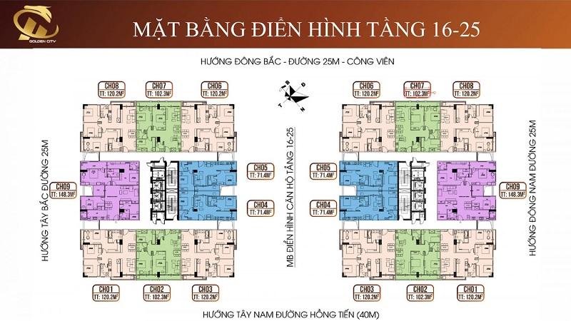 Mặt bằng tầng 16-25 HC Golden City Bồ Đề - Long Biên