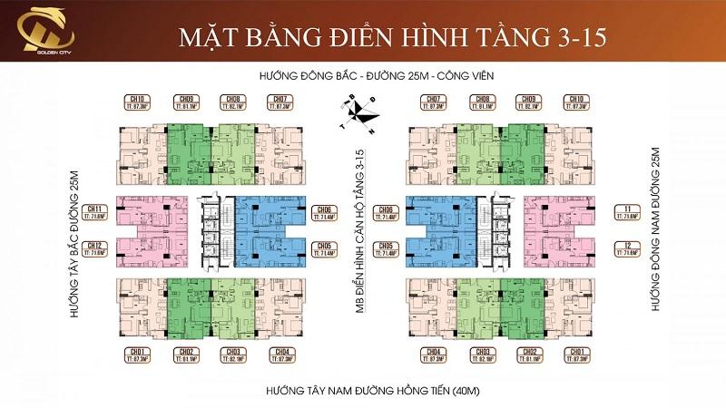 Mặt bằng tầng 3-15 HC Golden City Bồ Đề - Long Biên