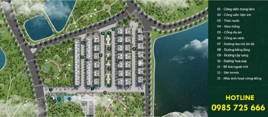 Mặt bằng tiện ích Elegant Park Villa Thạch Bàn - MIK Group