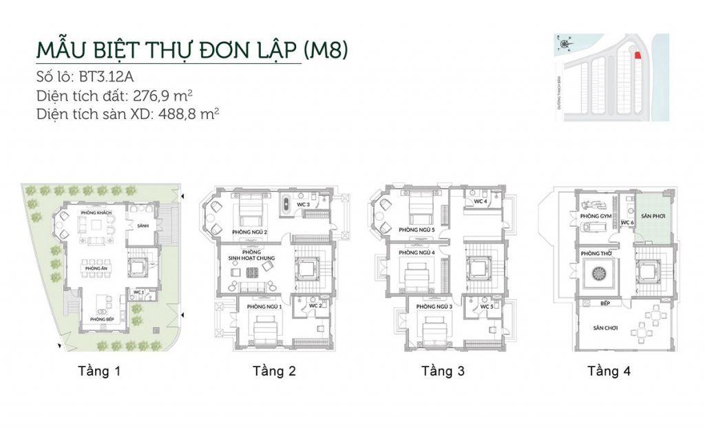 Mẫu biệt thự đơn lập M8 Elegant Park Villa Thạch Bàn - MIK Group