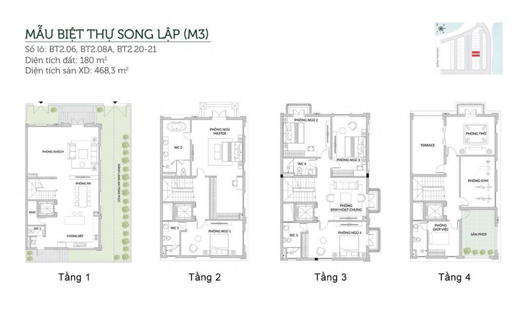 Mẫu biệt thự song lập M3 Elegant Park Villa Thạch Bàn - MIK Group