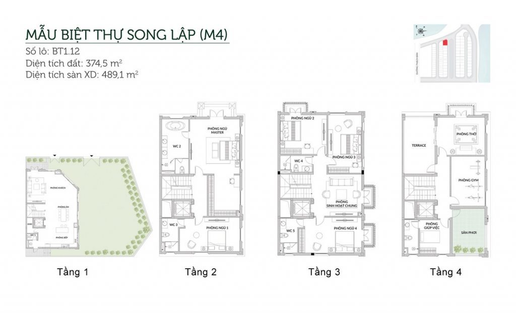 Mẫu biệt thự song lập M4 Elegant Park Villa Thạch Bàn - MIK Group