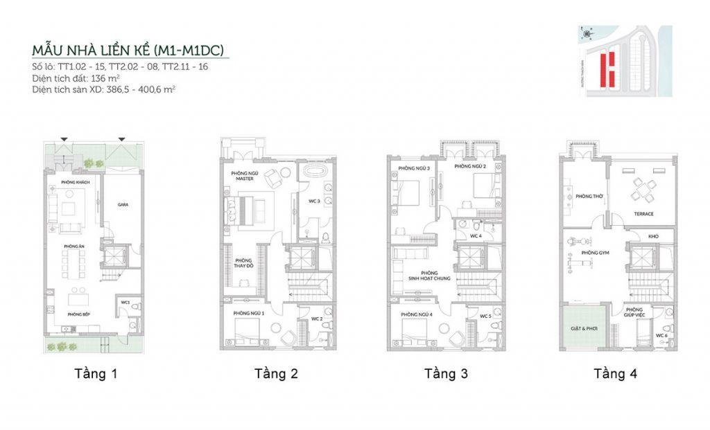 Mẫu liền kề M1-M1DC Elegant Park Villa Thạch Bàn - MIK Group