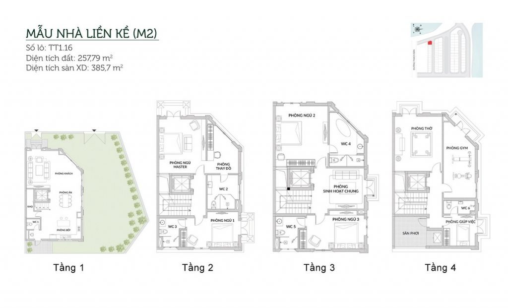 Mẫu liền kề M2 Elegant Park Villa Thạch Bàn - MIK Group