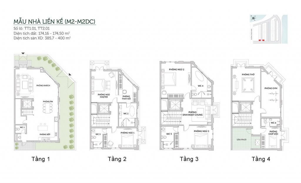 Mẫu liền kề M2-M2DC Elegant Park Villa Thạch Bàn - MIK Group
