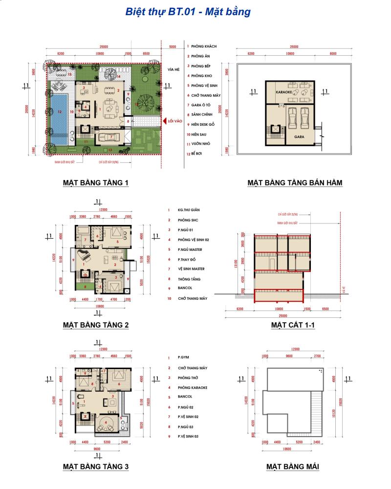 Thiết kế biệt thự BT01 khu đô thị Phương Đông