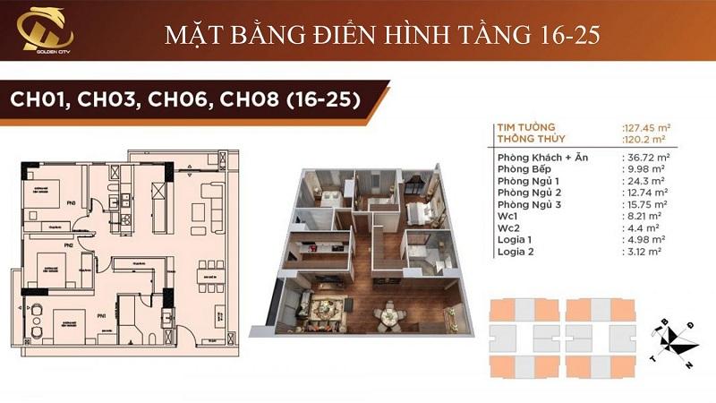 Thiết kế căn hộ 1-3-6-8 tầng 16-25 HC Golden City Bồ Đề - Long Biên