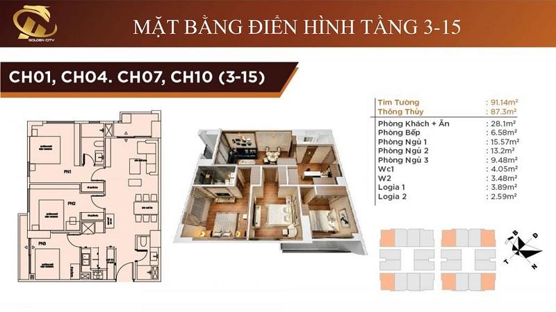Thiết kế căn hộ 1-4-7-10 tầng 3-15 HC Golden City Bồ Đề - Long Biên