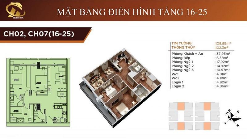 Thiết kế căn hộ 2-7 tầng 16-25 HC Golden City Bồ Đề - Long Biên