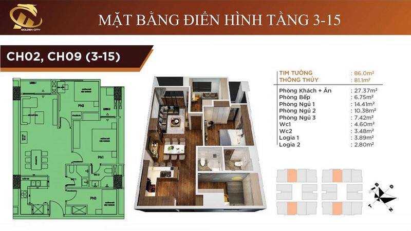 Thiết kế căn hộ 2-9 tầng 3-15 HC Golden City Bồ Đề - Long Biên