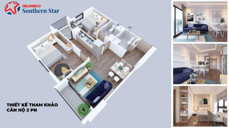 Thiết kế căn hộ 2PN Geleximco Southern Star 897 Giải Phóng