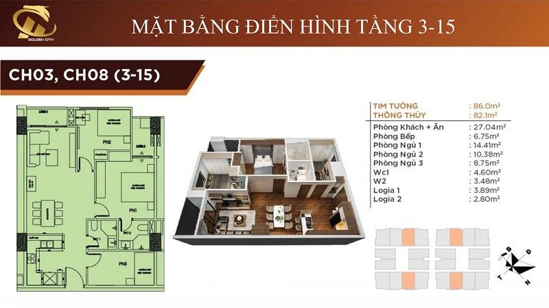 Thiết kế căn hộ 3-8 tầng 3-15 HC Golden City Bồ Đề - Long Biên