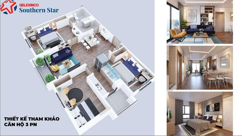 Thiết kế căn hộ 3PN Geleximco Southern Star 897 Giải Phóng