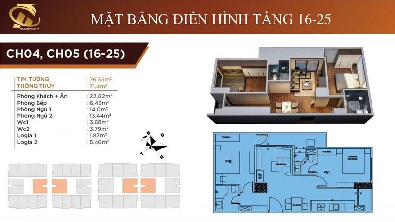 Thiết kế căn hộ 4-5 tầng 16-25 HC Golden City Bồ Đề - Long Biên
