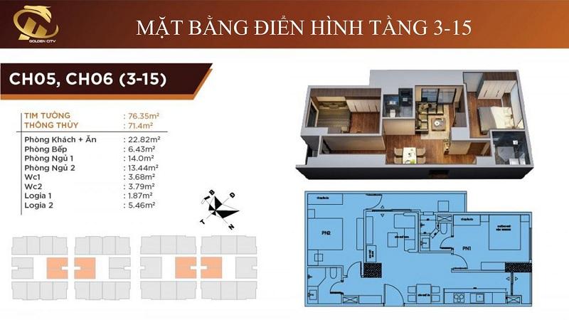 Thiết kế căn hộ 5-6 tầng 3-15 HC Golden City Bồ Đề - Long Biên