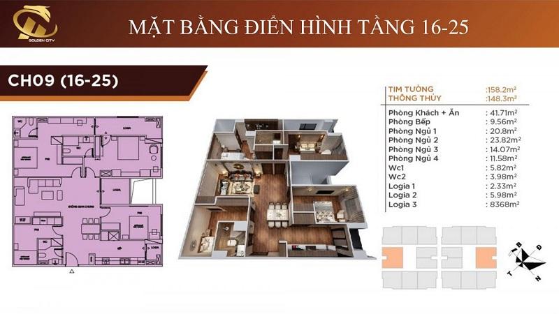 Thiết kế căn hộ 9 tầng 16-25 HC Golden City Bồ Đề - Long Biên