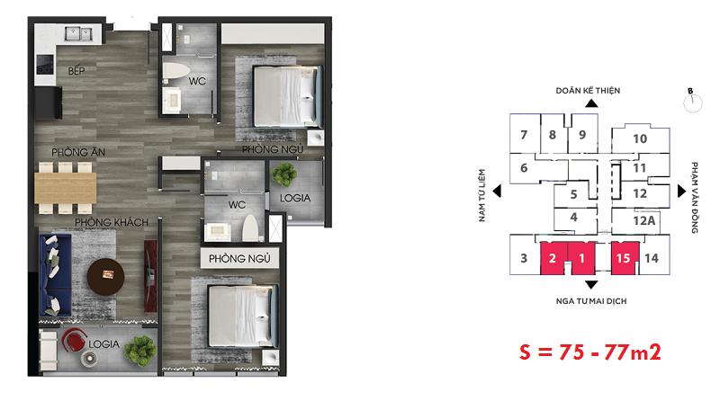 Thiết kế căn hộ số 1-2-15 chung cư The Nine Tower số 9 Phạm Văn Đồng - GP Invest