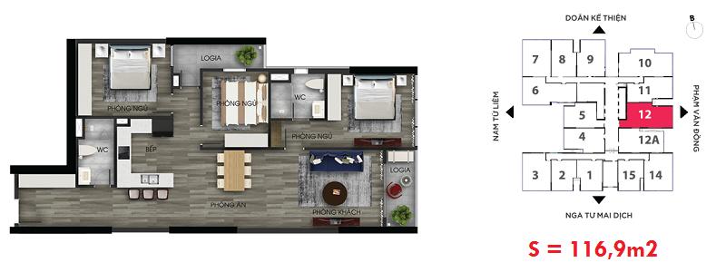 Thiết kế căn hộ số 12 chung cư The Nine Tower số 9 Phạm Văn Đồng - GP Invest