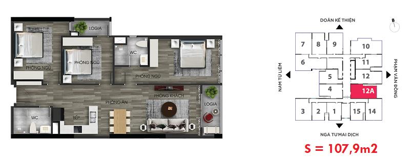 Thiết kế căn hộ số 12A chung cư The Nine Tower số 9 Phạm Văn Đồng - GP Invest