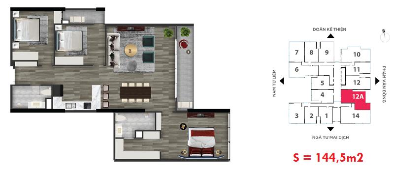 Thiết kế căn hộ số 13A chung cư The Nine Tower số 9 Phạm Văn Đồng - GP Invest