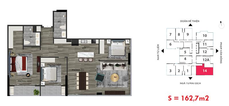 Thiết kế căn hộ số 14A chung cư The Nine Tower số 9 Phạm Văn Đồng - GP Invest
