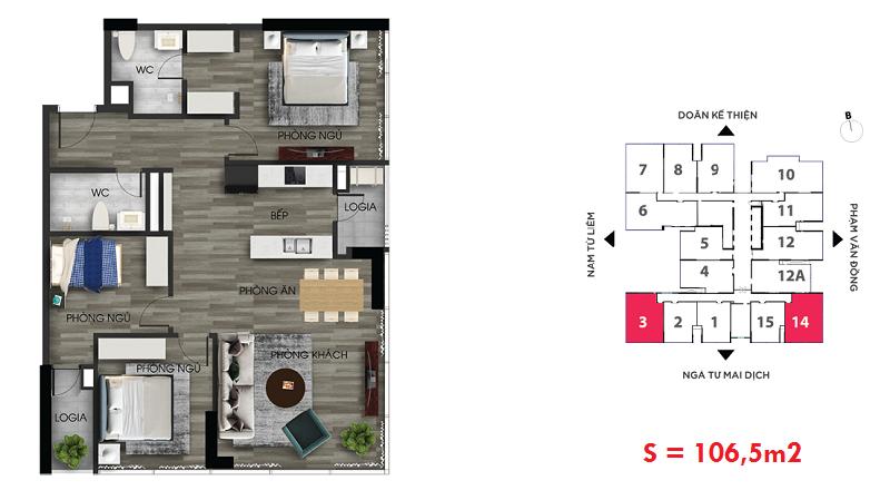 Thiết kế căn hộ số 3-14 chung cư The Nine Tower số 9 Phạm Văn Đồng - GP Invest