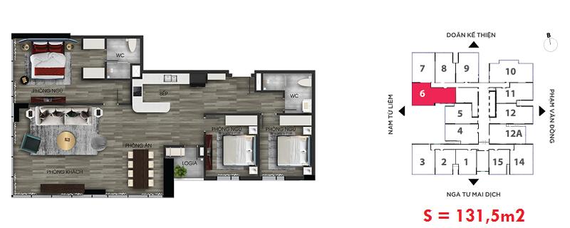 Thiết kế căn hộ số 6 chung cư The Nine Tower số 9 Phạm Văn Đồng - GP Invest