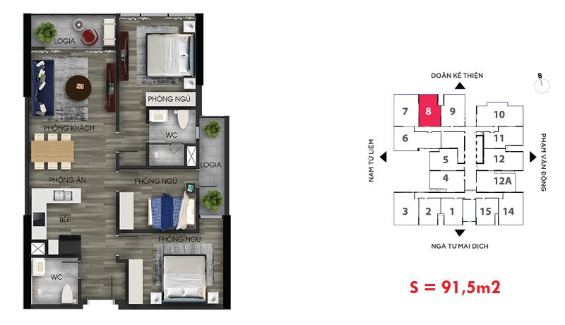 Thiết kế căn hộ số 8 chung cư The Nine Tower số 9 Phạm Văn Đồng - GP Invest