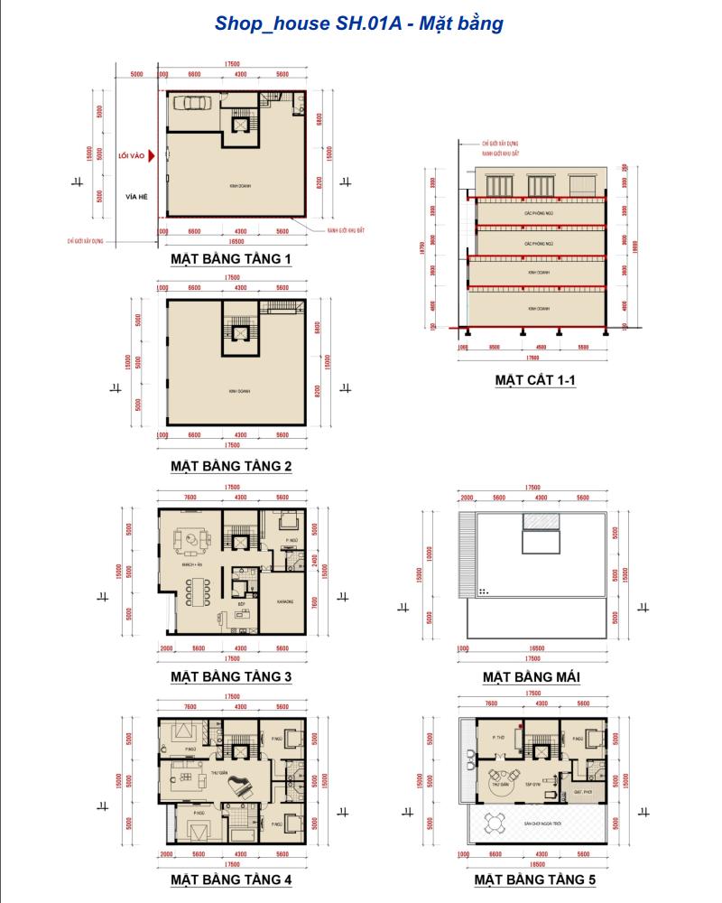 Thiết kế shophouse - nhà phố khu đô thị Phương Đông