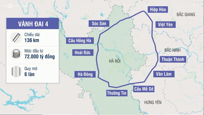 Đường vành đai 4 kết nối tỉnh Bắc Giang với thủ đô Hà Nội