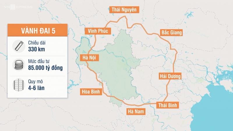 Đường vành đai 5 kết nối tỉnh Bắc Giang với thủ đô Hà Nội