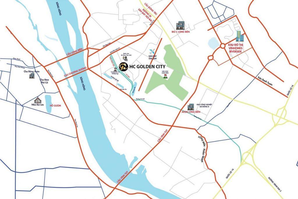 Vị trí dự án HC Golden City Bồ Đề - Long Biên