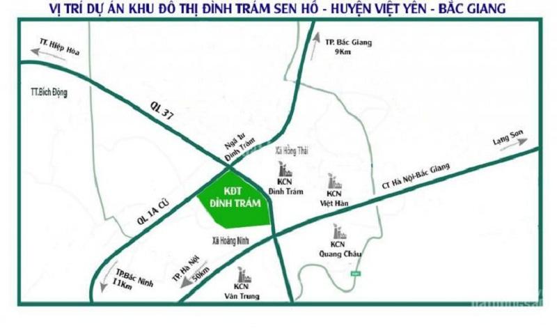 Vị trí dự án Khu Đô Thị Đình Trám Sen Hồ - Bắc Giang