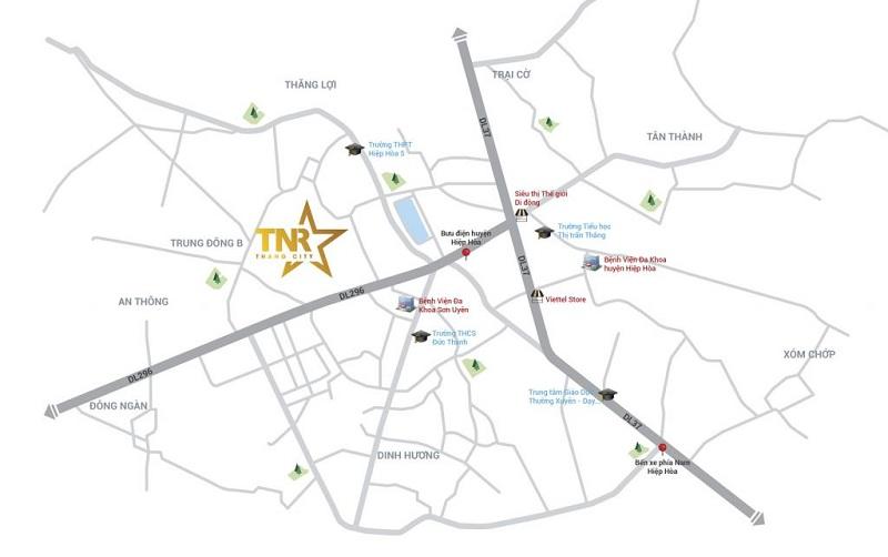 Vị trí dự án TNR Stars Thắng City - Bắc Giang
