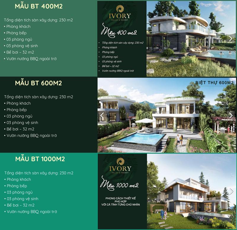 3 mẫu biệt thự điển hình dự án Ivory Villas & Resort Lương Sơn - Hoà Bình