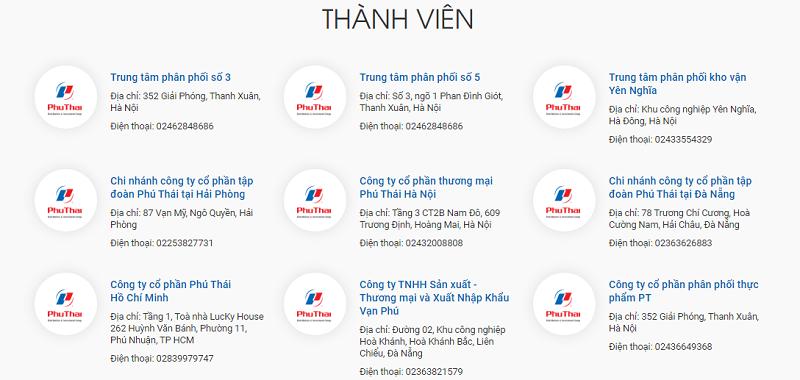 Hệ thống công ty tập đoàn Phú Thái
