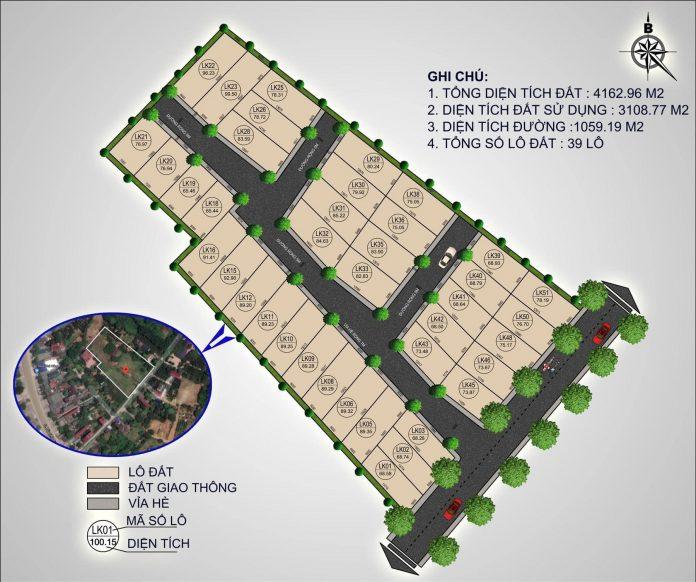 Mặt bằng chia lô khu 39 Lô Phú Cát - Hòa Lạc