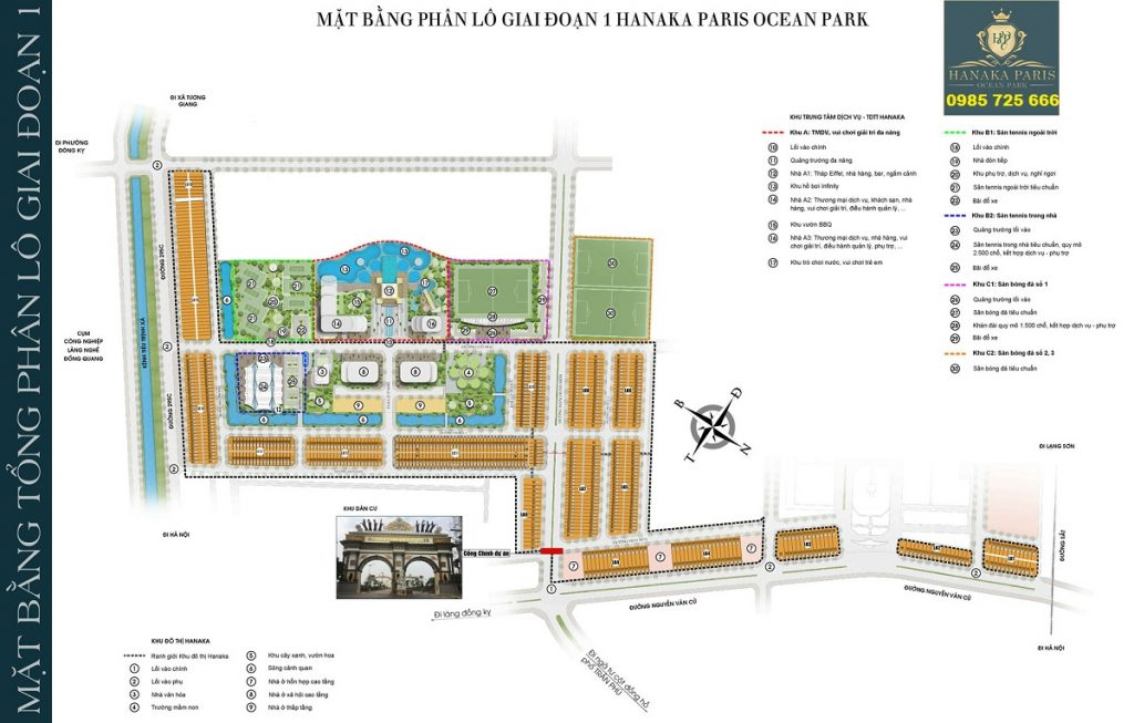 Mặt bằng giai đoạn 1 dự án Hanaka Paris Ocean Park Từ Sơn - Bắc Ninh