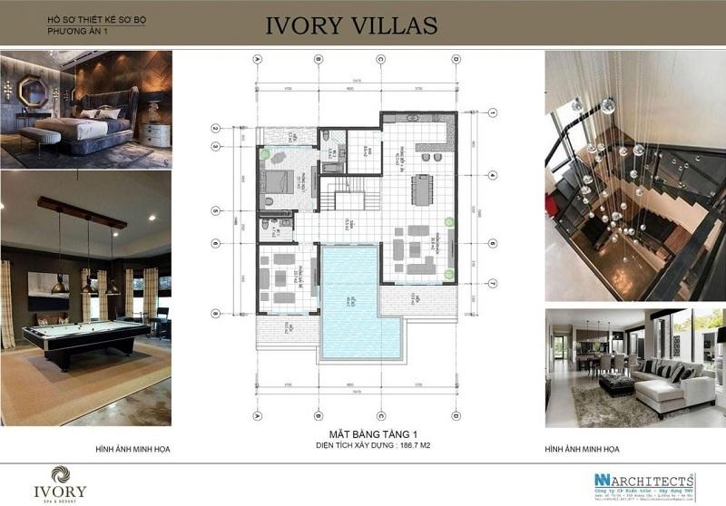 Mặt bằng tầng 1 mẫu A biệt thự Ivory Villas & Resort Hòa Bình