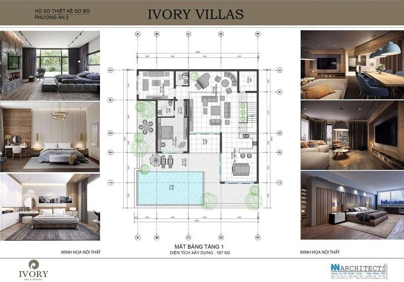 Mặt bằng tầng 1 mẫu B biệt thự Ivory Villas & Resort Hòa Bình