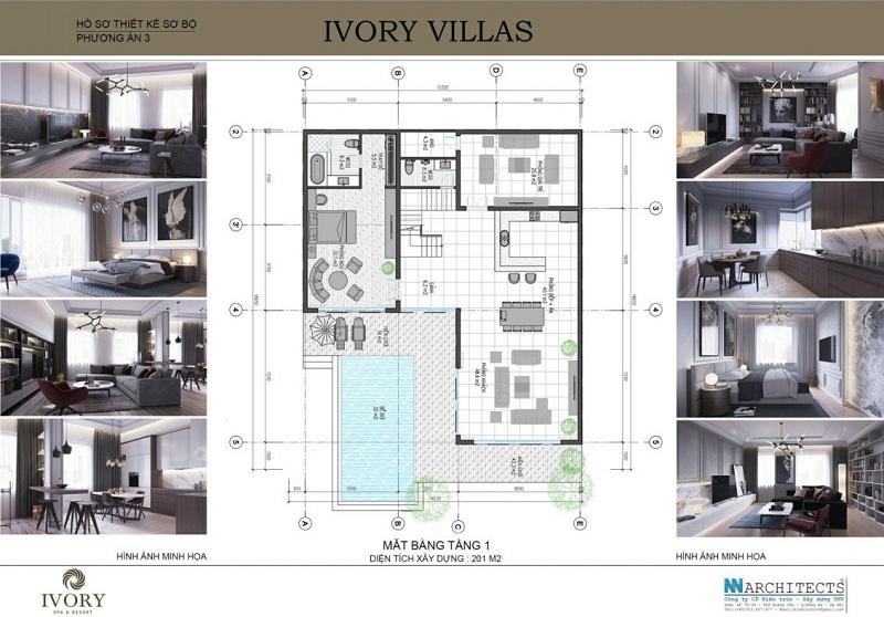 Mặt bằng tầng 1 mẫu C biệt thự Ivory Villas & Resort Hòa Bình