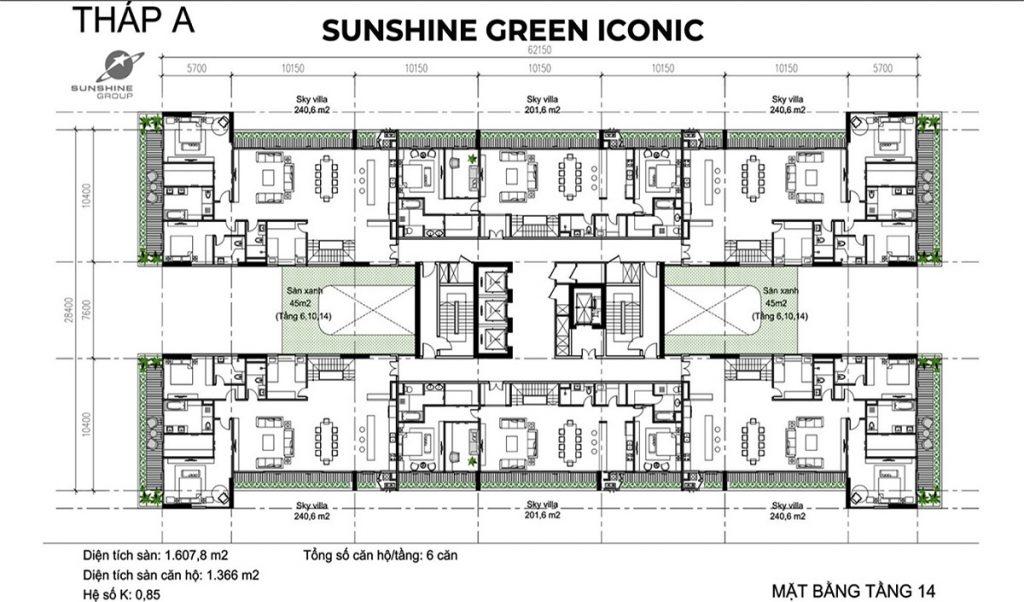 Mặt bằng tầng 14 tháp A dự án Sunshine Green Iconic Long Biên