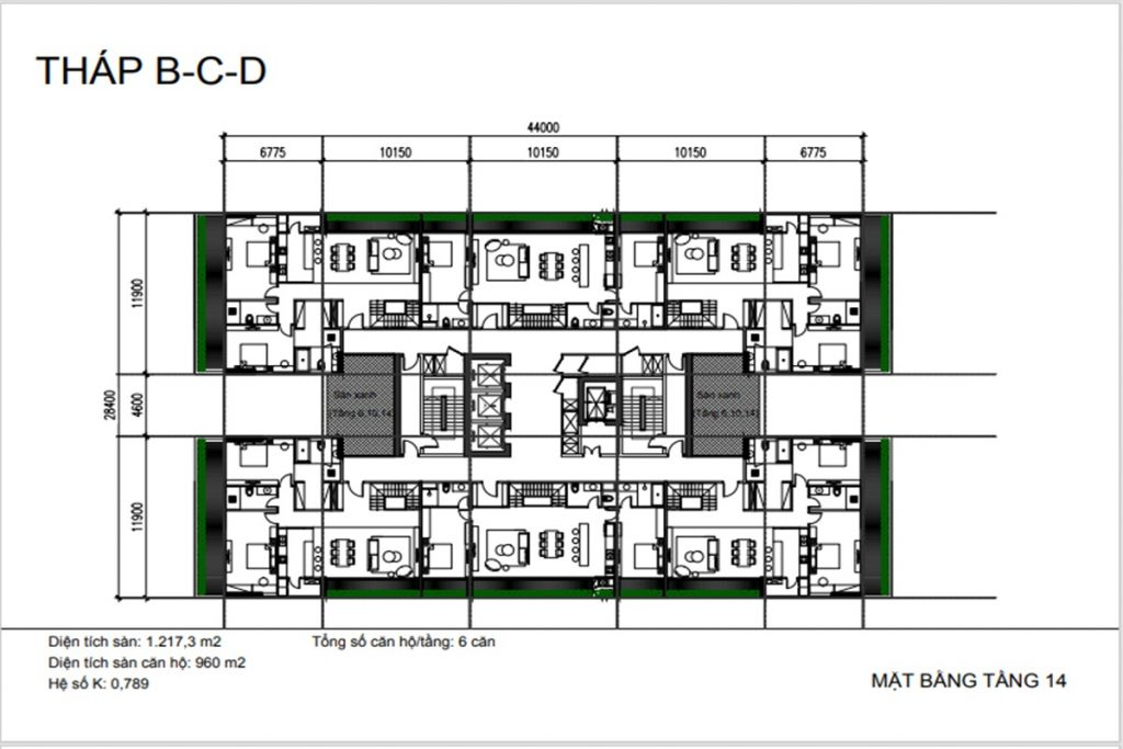 Mặt bằng tầng 14 tháp B-C-D dự án Sunshine Green Iconic Long Biên